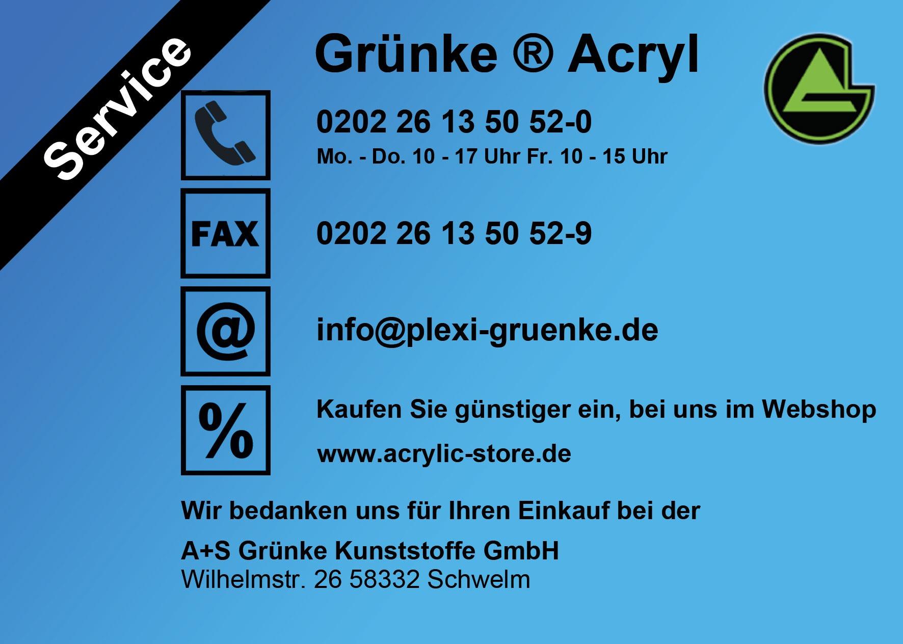 Grünke Acryl Service Flyer Seite 1 www.acrylic-store.de